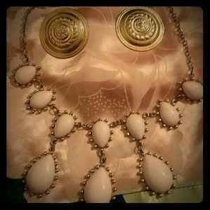Jewelry - Classic Greek flower shield earrings and necklace